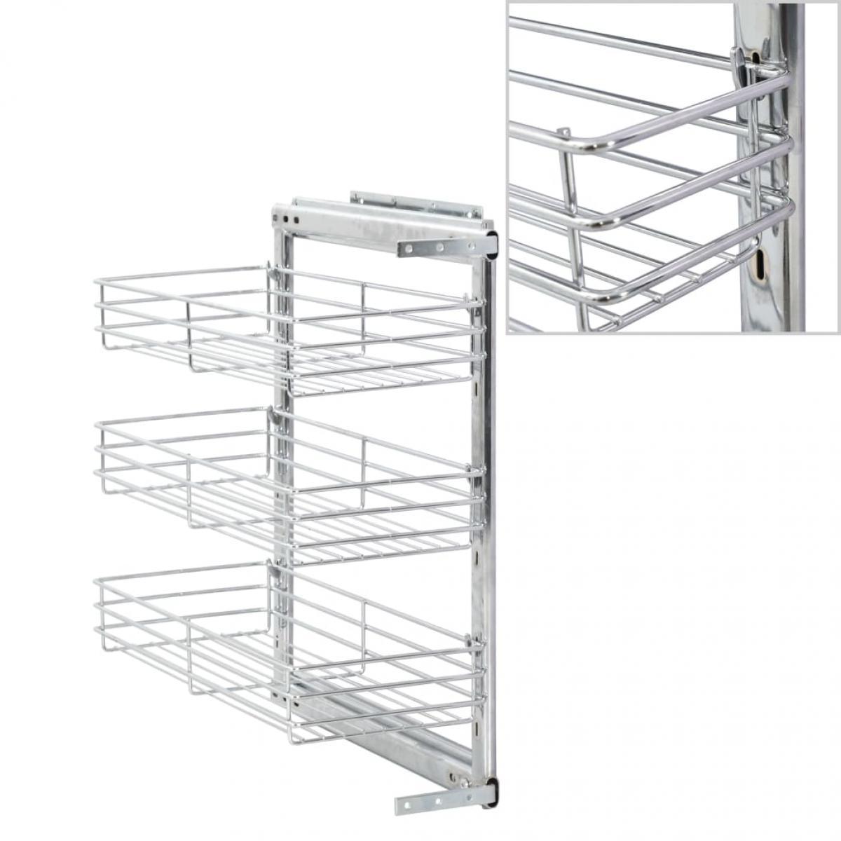 Vidaxl vidaXL Panier à 3 niveaux métallique de cuisine 47x25x56 cm
