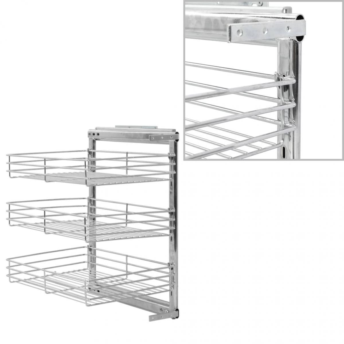 Vidaxl vidaXL Panier à 3 niveaux métallique de cuisine 47x35x56 cm