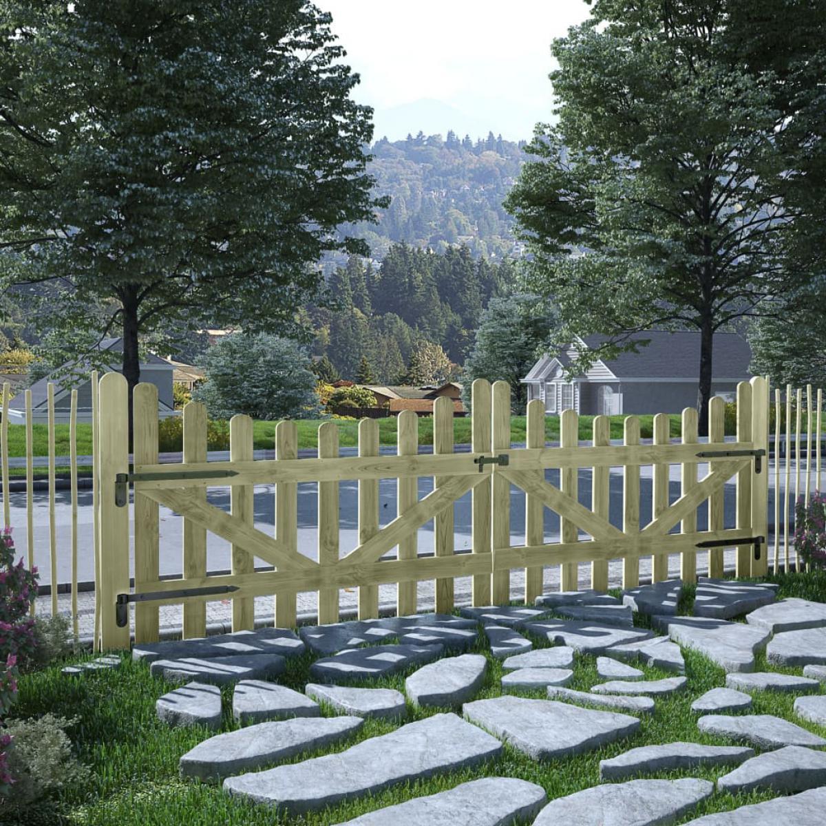 Vidaxl vidaXL Portillons de jardin 2 pcs Pin imprégné 150 x 100 cm