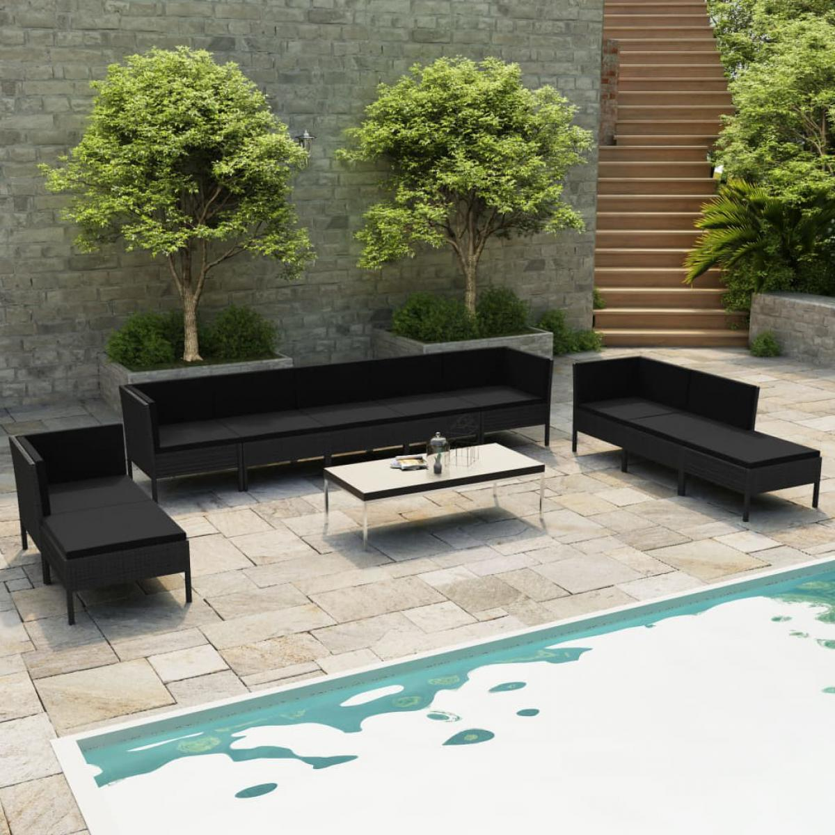 Vidaxl vidaXL Salon de jardin 10 pcs avec coussins Résine tressée Noir
