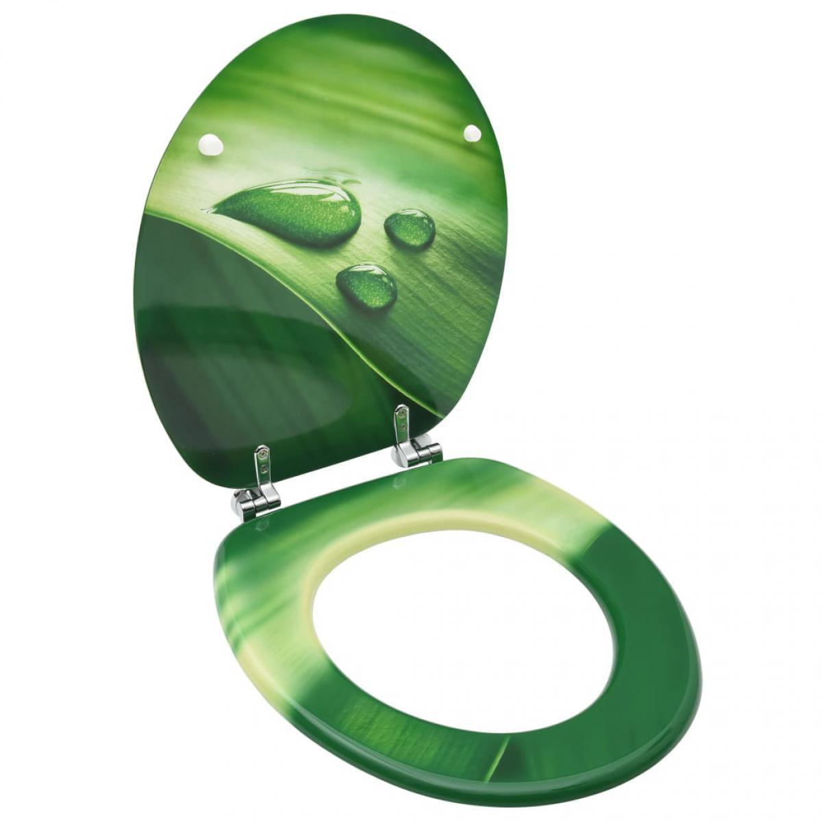 Vidaxl vidaXL Siège de toilette avec couvercle MDF Vert Gouttes d'eau