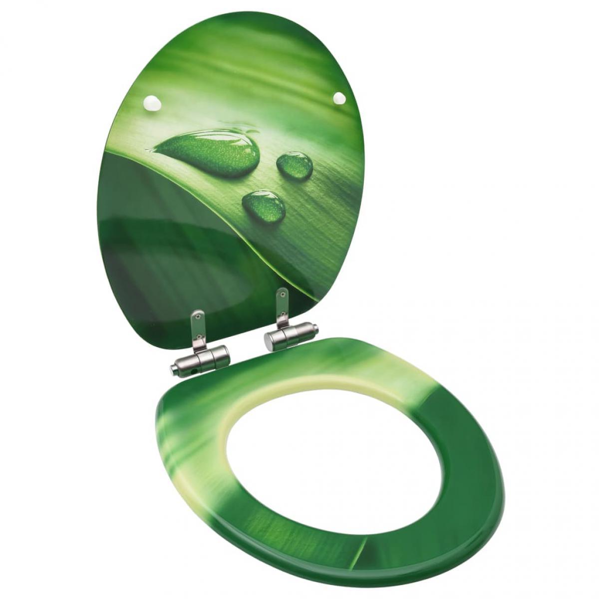 Vidaxl vidaXL Siège WC Couvercle fermeture en douceur MDF Vert Gouttes d'eau