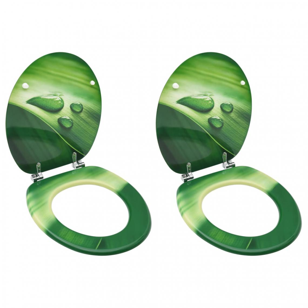 Vidaxl vidaXL Sièges de toilette avec couvercle 2 pcs MDF Vert Gouttes d'eau