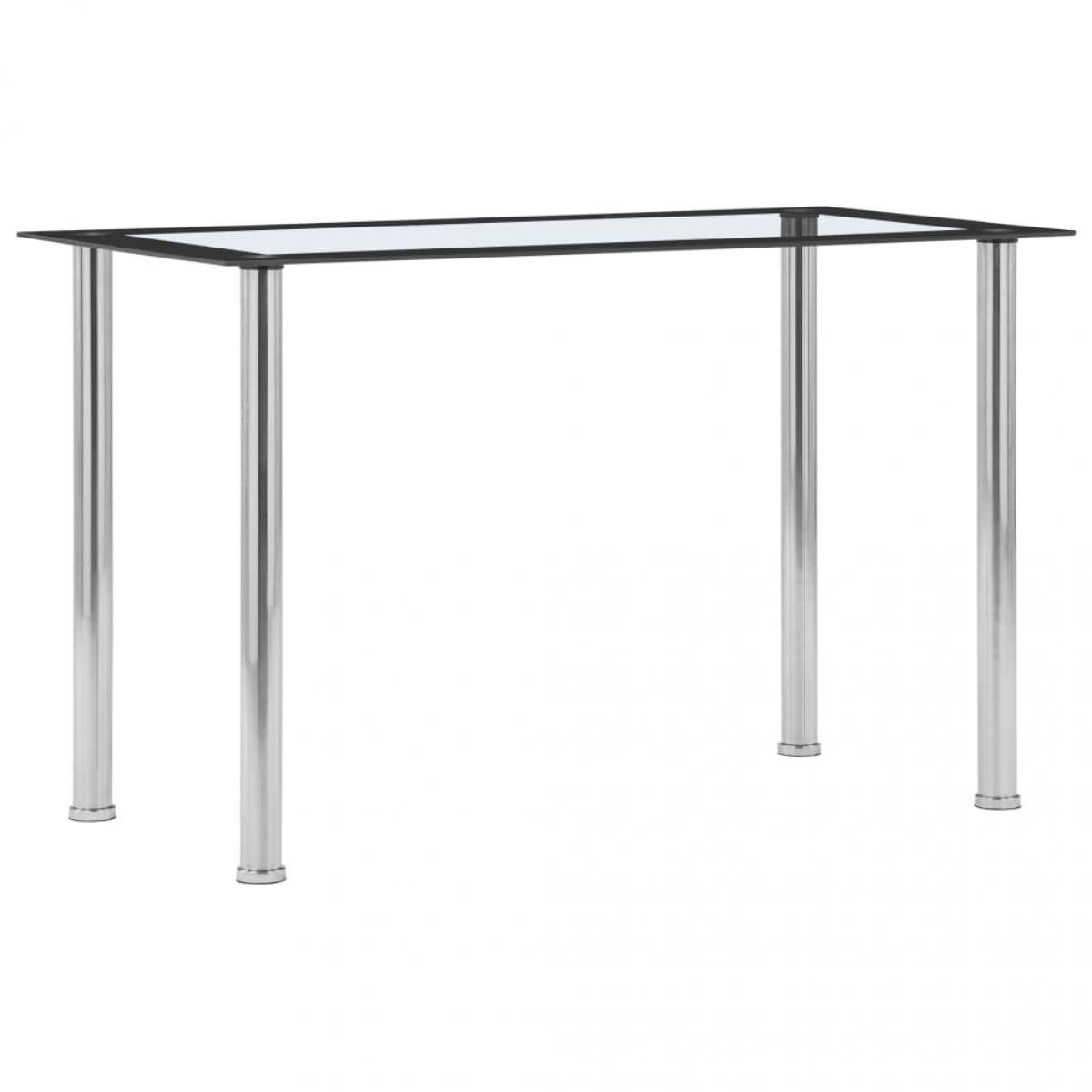 Vidaxl vidaXL Table à dîner Noir et transparent 120x60x75 cm Verre trempé