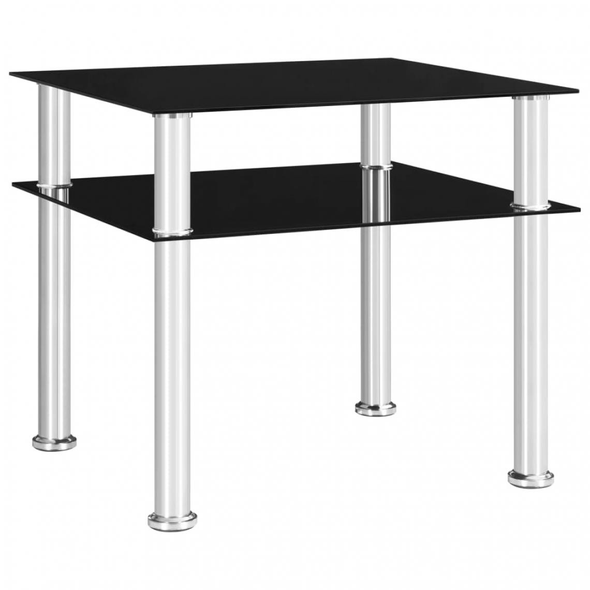 Vidaxl vidaXL Table d'appoint Noir 45x50x45 cm Verre trempé
