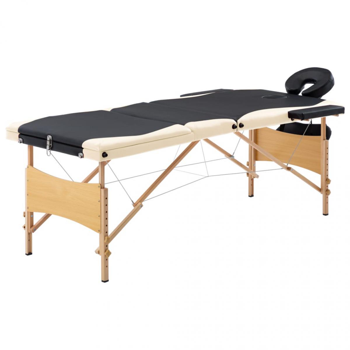 Vidaxl vidaXL Table de massage pliable 3 zones Bois Noir et beige