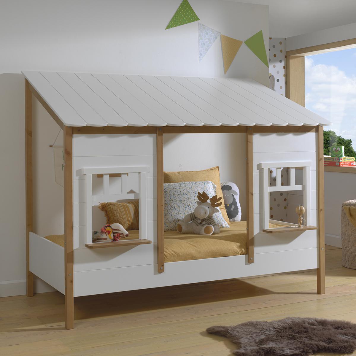 Vipack Lit cabane 90x200 sommier inclus Housebed - Blanc et bois