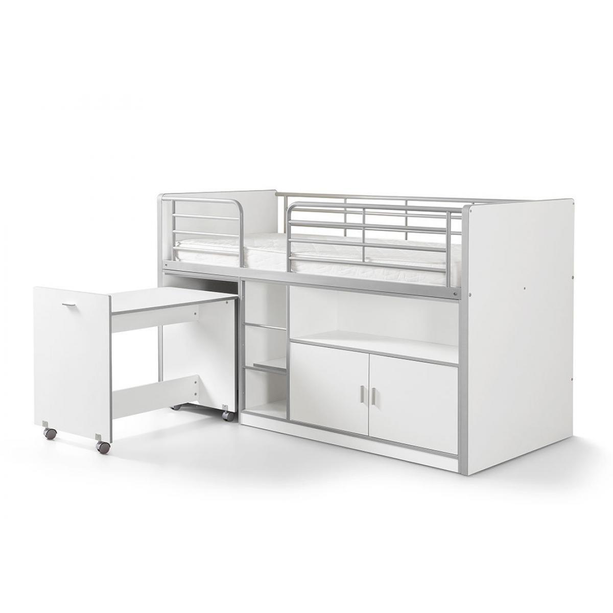 Vipack Vipack BONNY Lit mi-hauteur avec bureau et rangement 90x200 Blanc