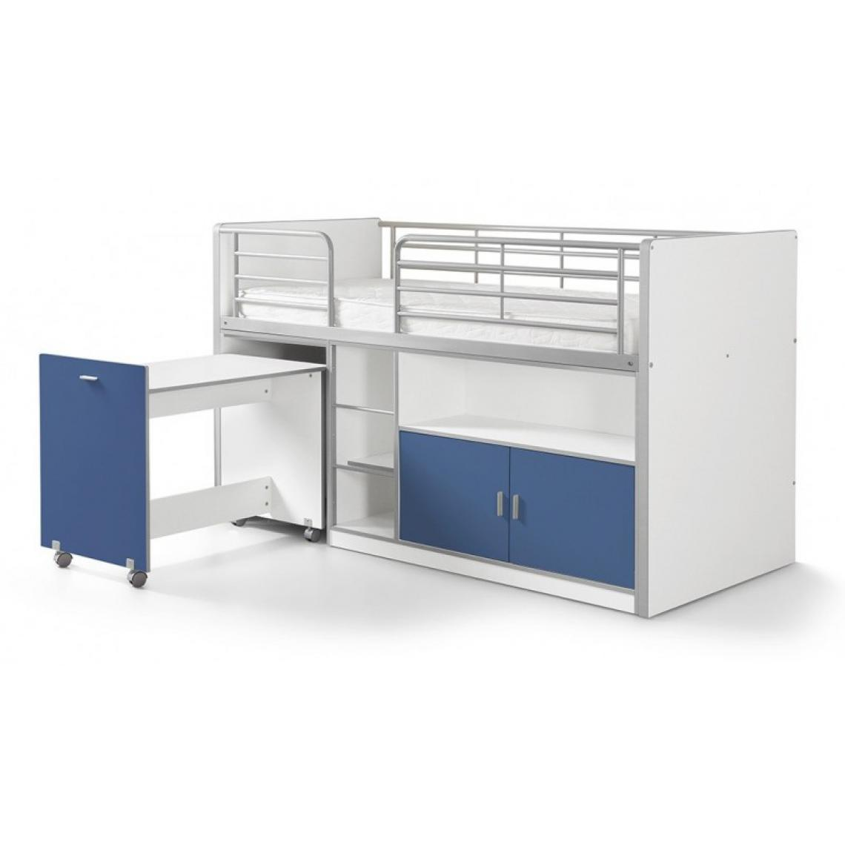 Vipack Vipack BONNY Lit mi-hauteur avec bureau et rangement 90x 200 Bleu