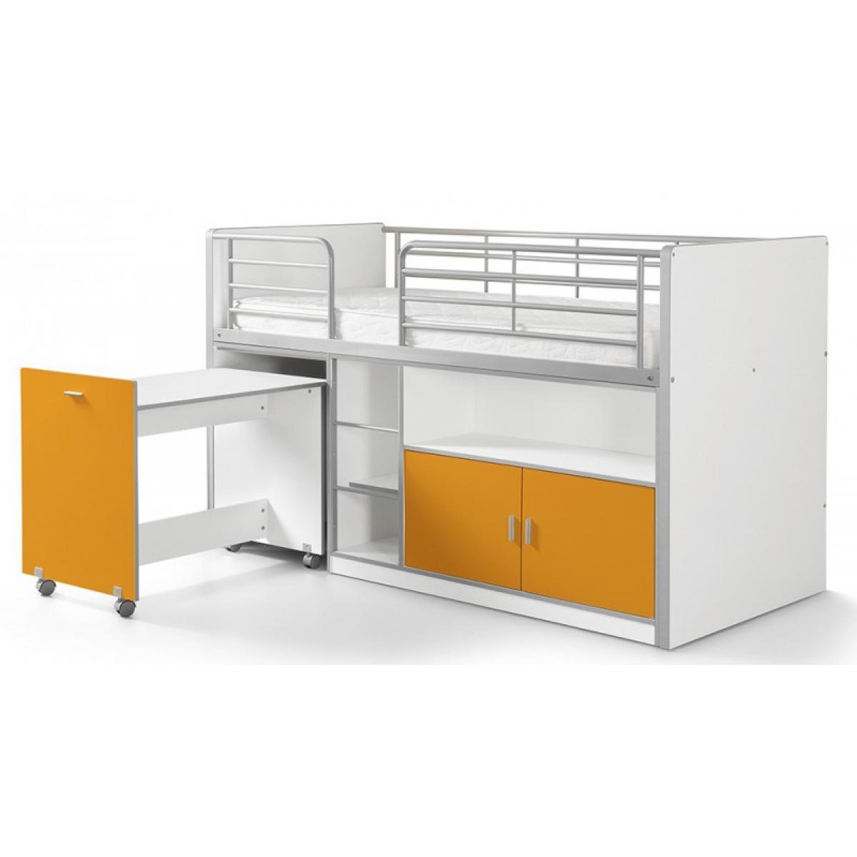Vipack Vipack BONNY Lit mi-hauteur avec bureau et rangement 90x200 Orange