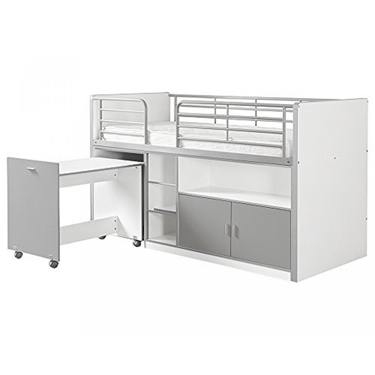 Vipack Vipack BONNY Lit mi-hauteur avec bureau et rangement 90x200 Silver
