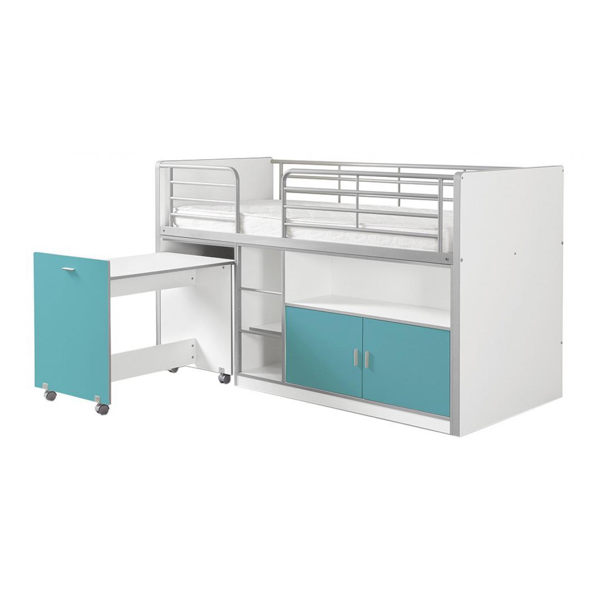 Vipack Vipack BONNY Lit mi-hauteur avec bureau et rangement 90x 200 Turquoise