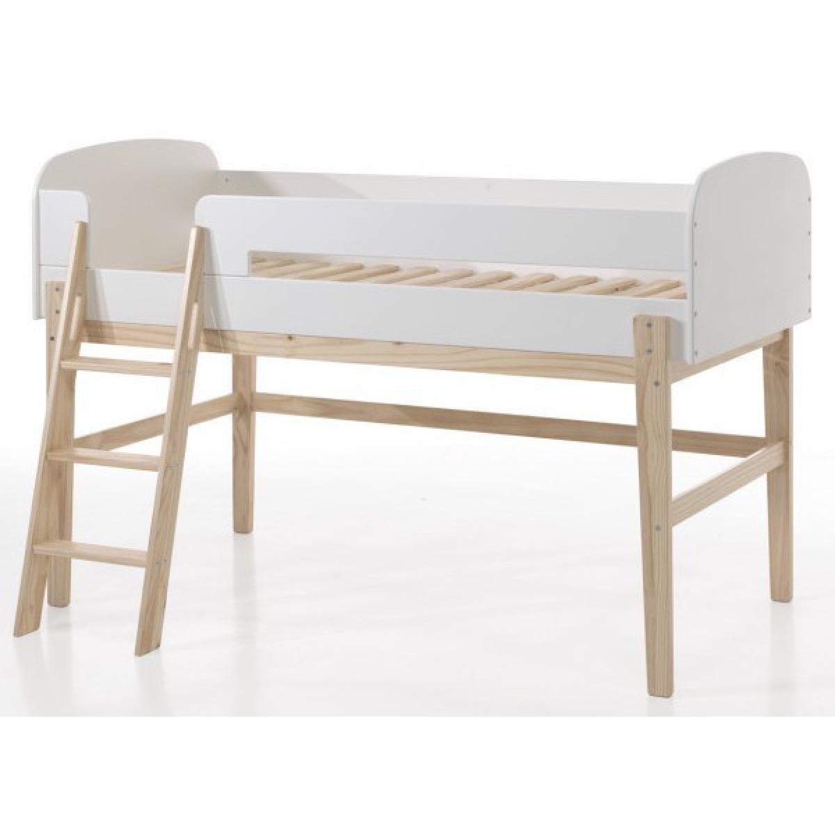 Vipack Vipack KIDDY Lit mezzanine 90x200 bois blanc