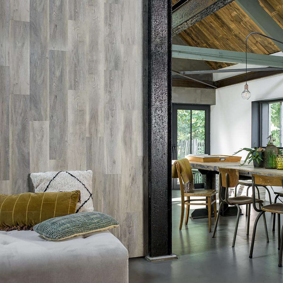 Wallart WallArt Planches d'aspect de bois Chêne de bois de grange Blanchi