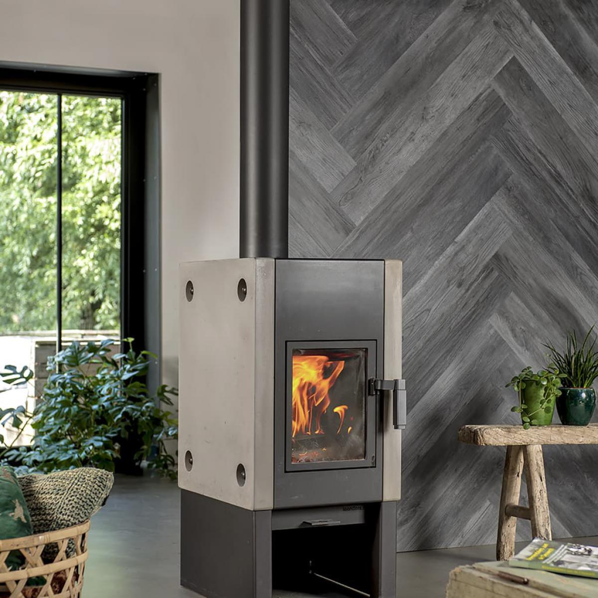 Wallart WallArt Planches d'aspect de bois Chêne de bois de grange Gris cendre