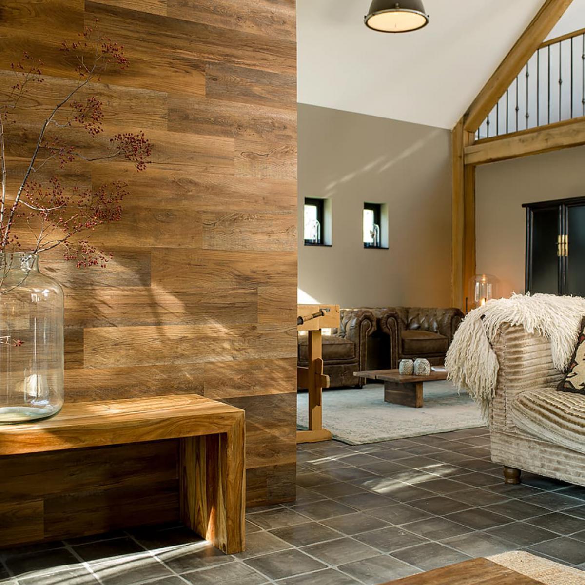 Wallart WallArt Planches d'aspect de bois Marron terre d'ombre