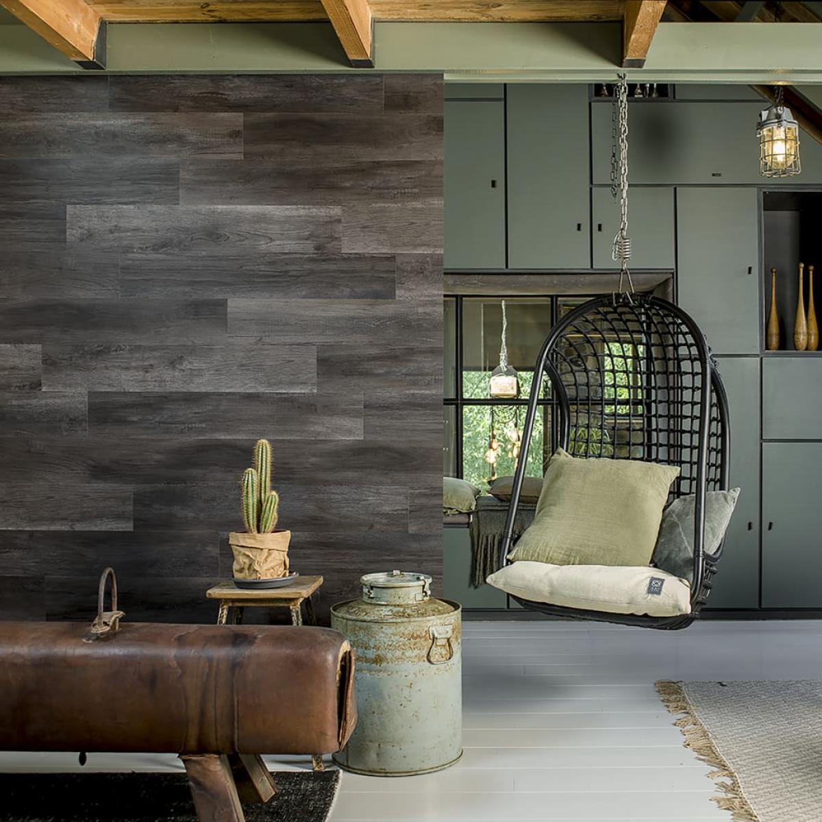 Wallart WallArt Planches d'aspect de bois Noir charbon