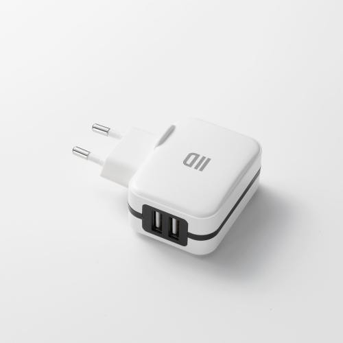 We - Chargeur secteur universel blanc 2 ports USB 2.4A - Switch D2AL2USBB - Câble et Connectique We