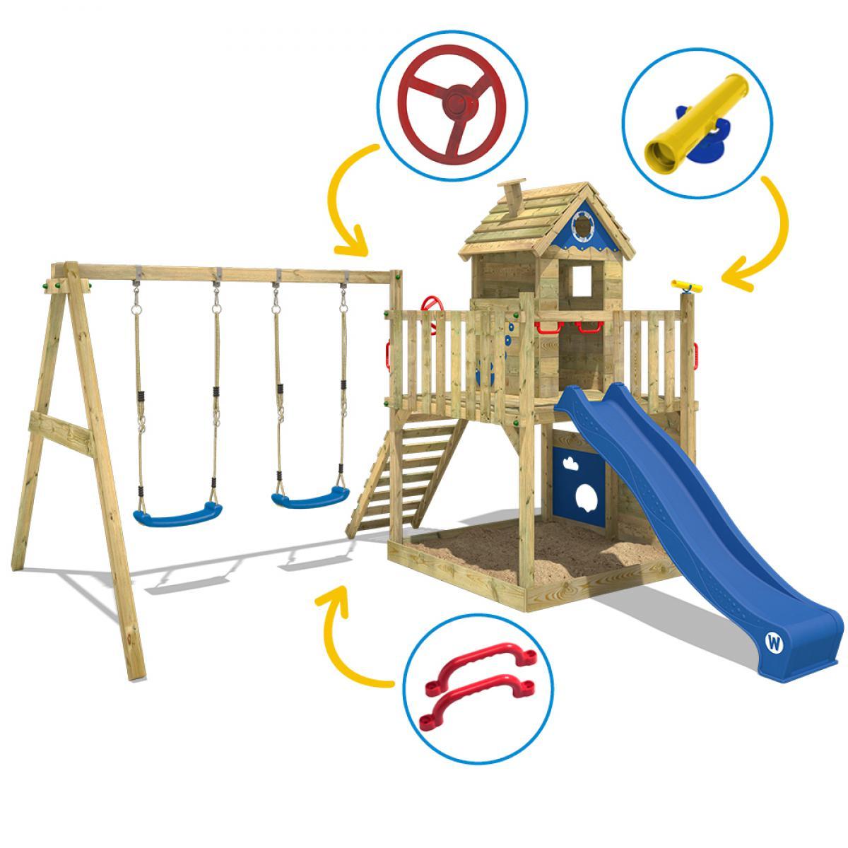 https www rueducommerce fr produit wickey aire de jeux en bois smart lodge bleu 29904070