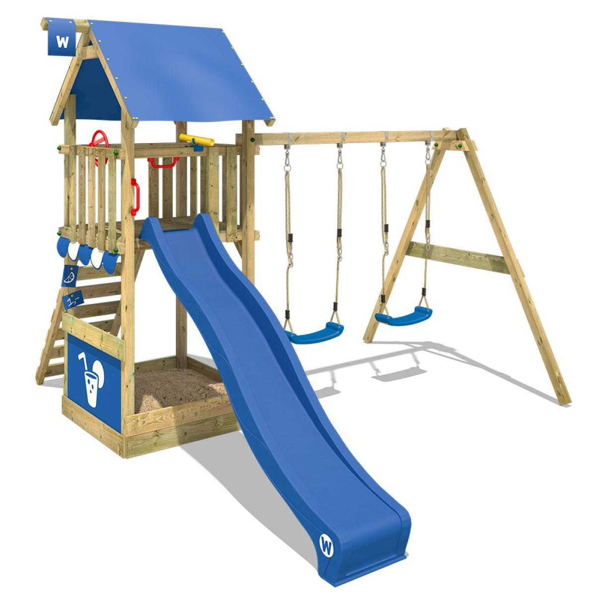 Wickey WICKEY Aire de jeux Portique bois Smart Shelter avec balançoire et toboggan bleu Maison enfant exterieur avec bac à sabl