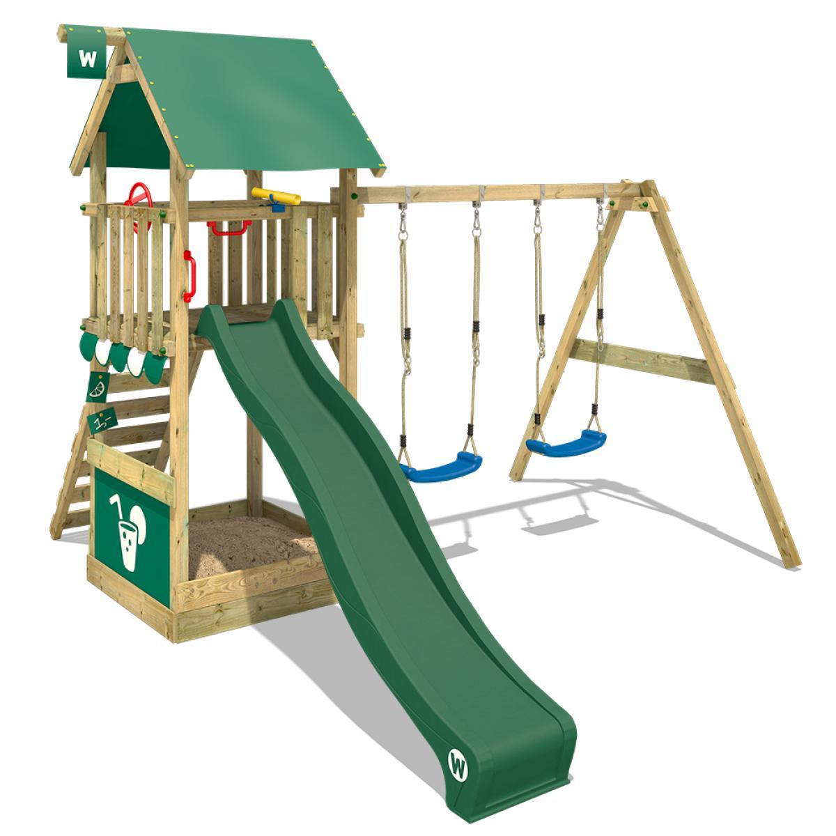 Wickey WICKEY Aire de jeux Portique bois Smart Shelter avec balançoire et toboggan vert Maison enfant exterieur avec bac à sabl