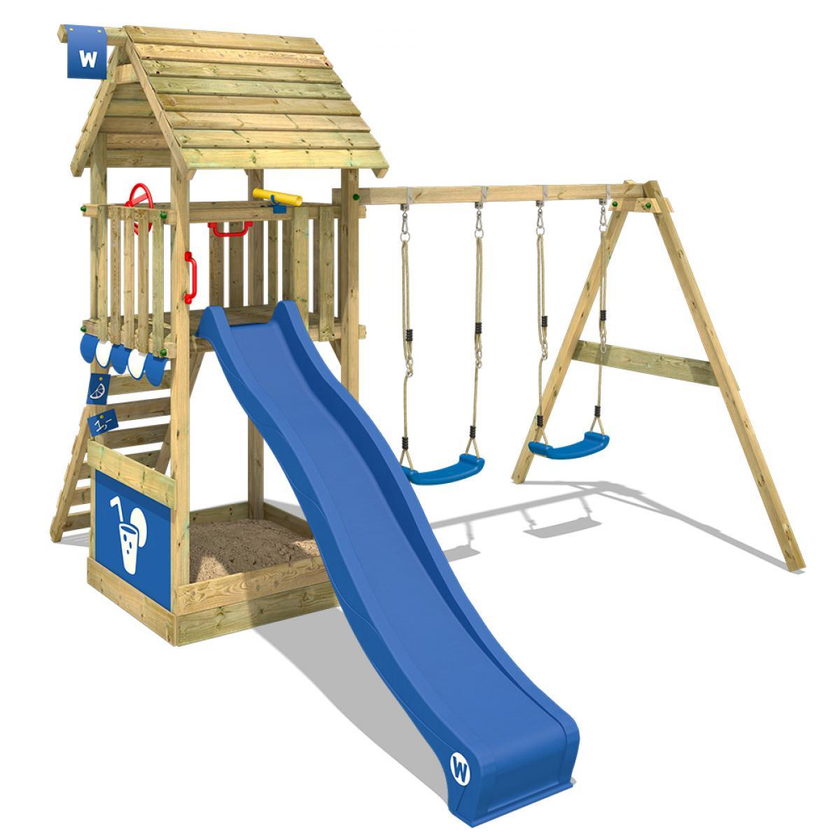 Wickey WICKEY Aire de jeux Portique bois Smart Shelter toit en bois avec balançoire et toboggan bleu Maison enfant exterieur av