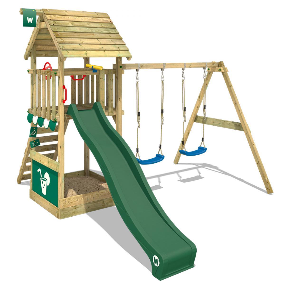 Wickey WICKEY Aire de jeux Portique bois Smart Shelter toit en bois avec balançoire et toboggan vert Maison enfant exterieur av