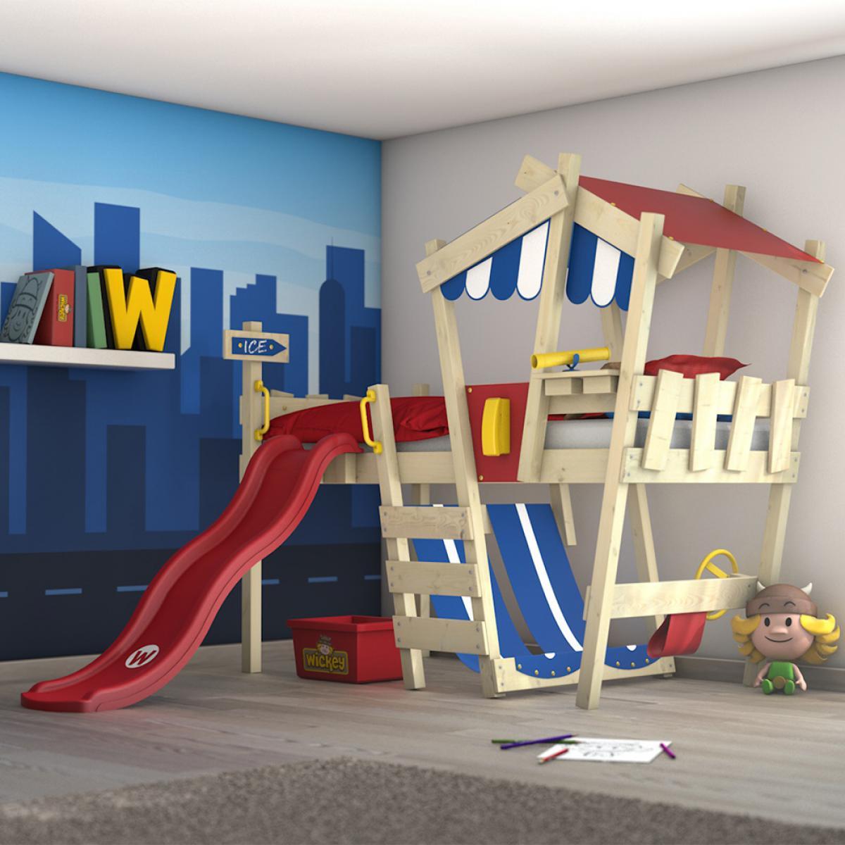 Wickey WICKEY Lit enfant, Lit mezzanine Crazy Hutty avec toboggan rouge Lit maison 90 x 200 cm