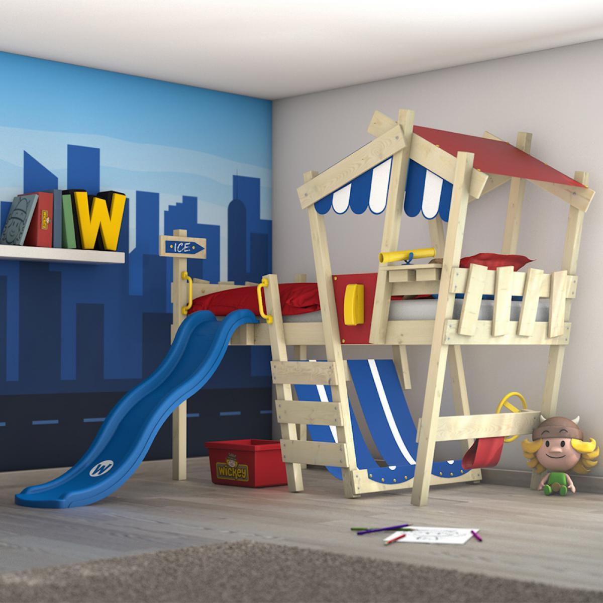 Wickey WICKEY Lit enfant, Lit mezzanine Crazy Hutty avec toboggan bleu Lit maison 90 x 200 cm