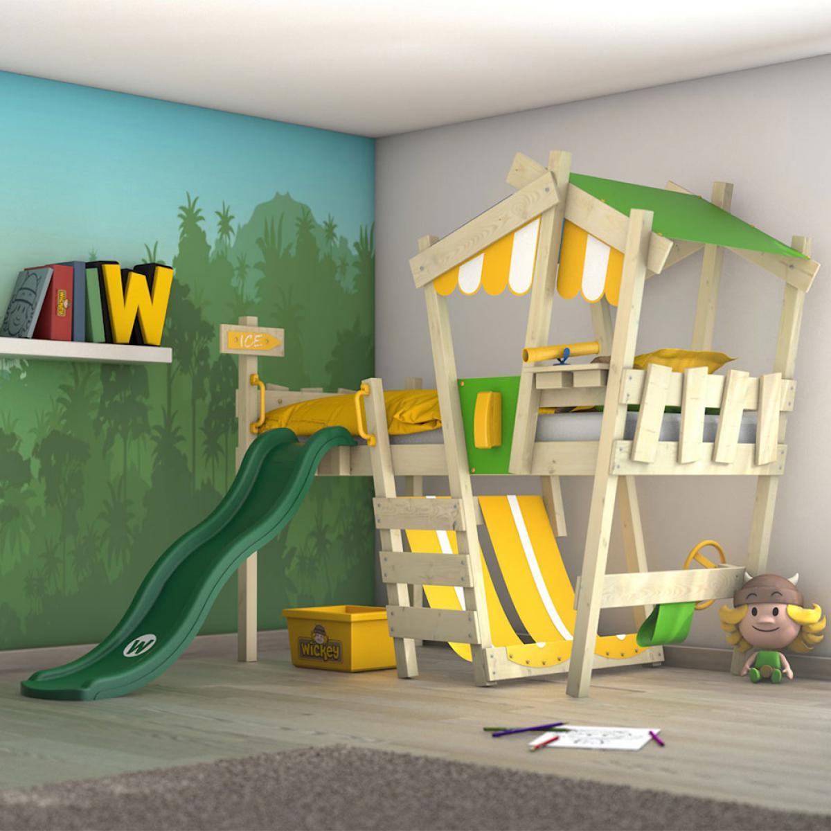 Wickey WICKEY Lit enfant, Lit mezzanine Crazy Hutty avec toboggan vert Lit maison 90 x 200 cm
