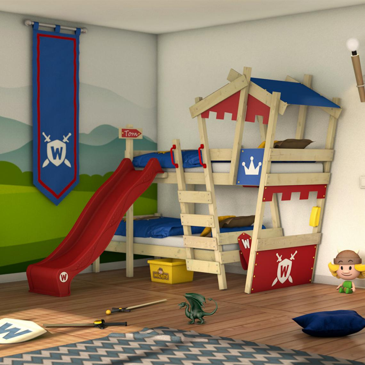 Wickey WICKEY Lit mezzanine en bois CrAzY Castle avec toboggan rouge Lit superposé pour enfant couleur rouge - bleu