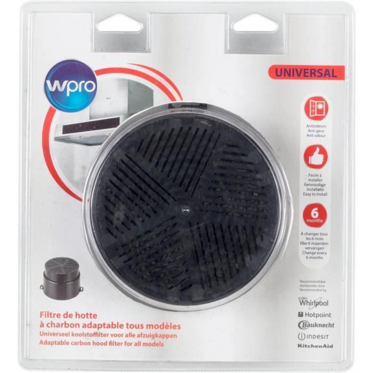 Wpro WPRO UNF001 Filtre de hotte a charbon universel adaptable tous modeles - Diametre 153 mm - Auto-extinguible