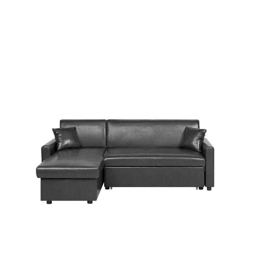 Beliani Beliani Canapé angle à droite en simili-cuir noir OGNA - noir