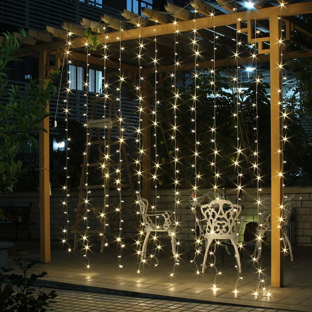 Salcar Rideau Lumière 9 * 3m LED imperméable 900er LED chaîne Lumière Blanc Chaud pour Décoration Rideau, Fenêtre, Jardin, Terr