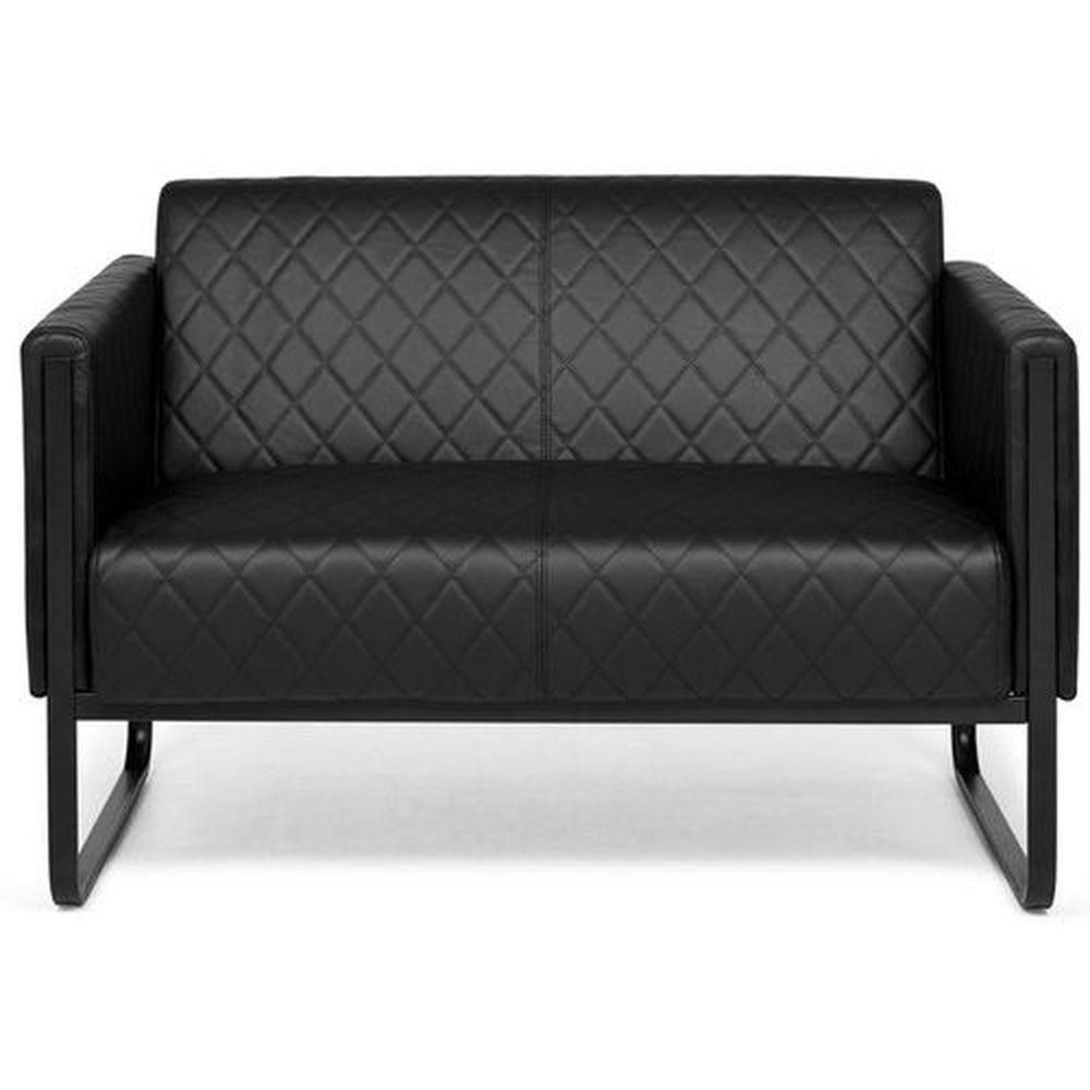 Hjh Office Canapé lounge ARUBA BLACK châssis noir simili cuir 2 places noir hjh OFFICE