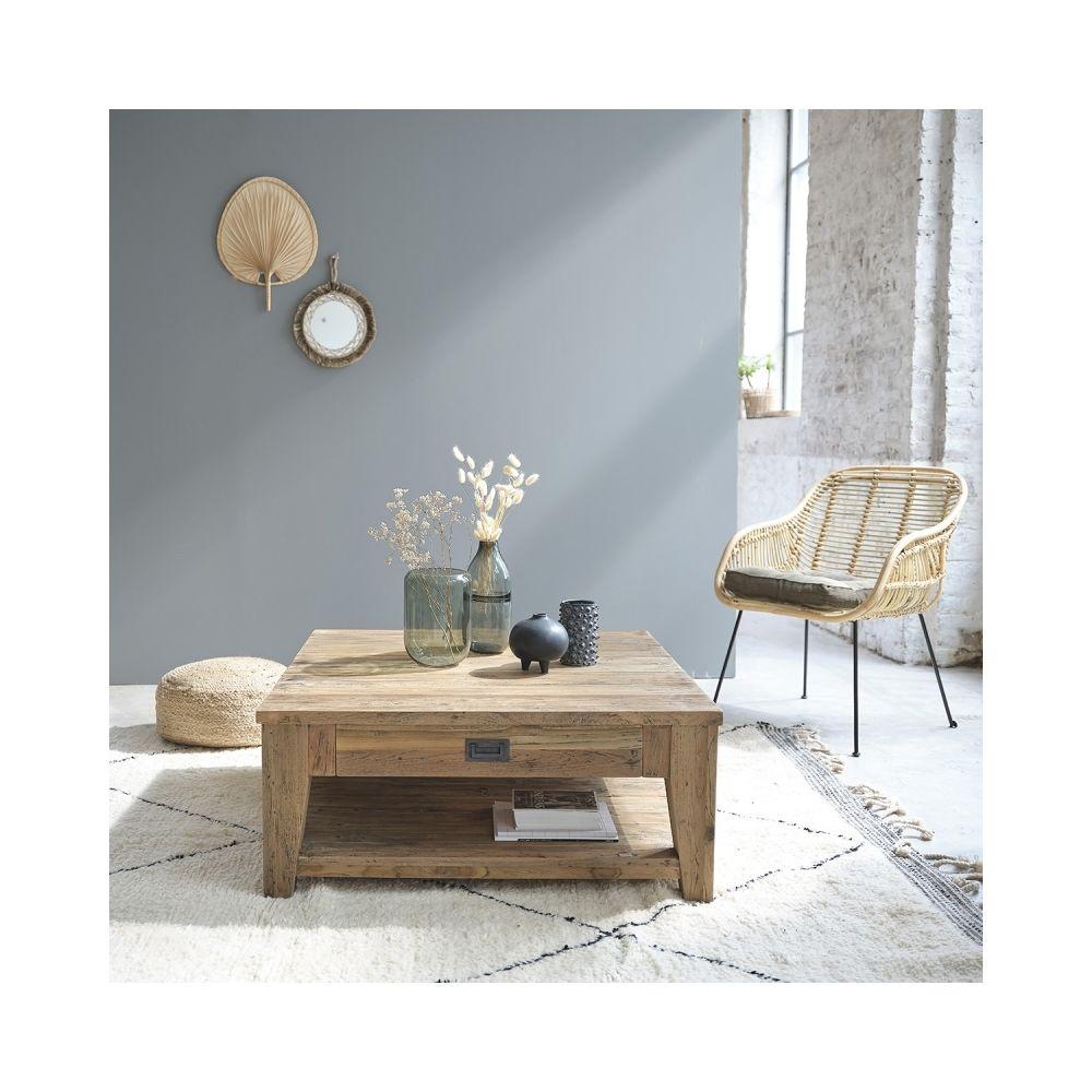Bois Dessus Bois Dessous Table basse carrée en bois de teck recyclé double plateau 100