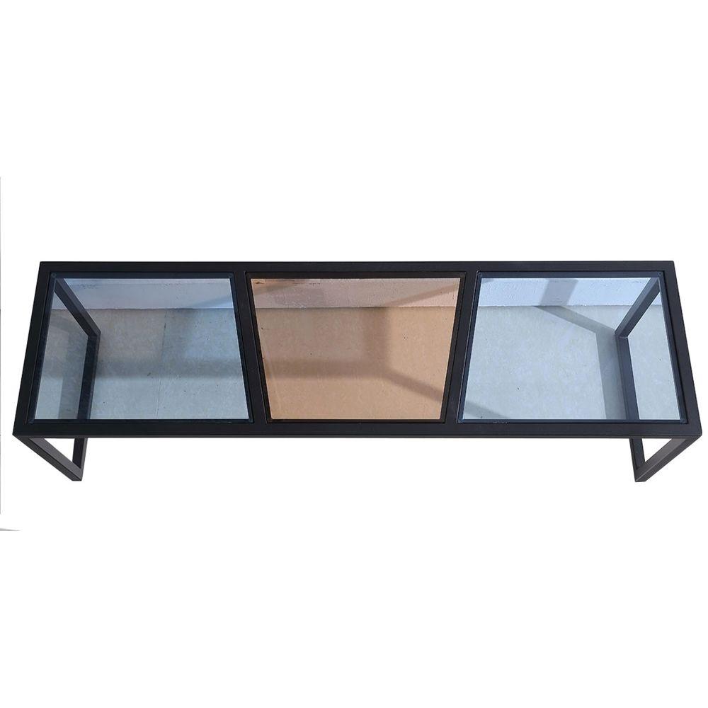 La Maison Du Canapé Meuble TV verre ESPRIT - Marron / Bleu