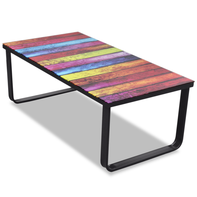 Helloshop26 - Table basse de salon salle à manger design verre musique multicolore 90 x 45 cm 0902028 Helloshop26   - Helloshop26