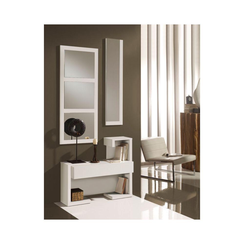 Tousmesmeubles Meuble d'entrée Blanc Laque + miroirs - PARIS