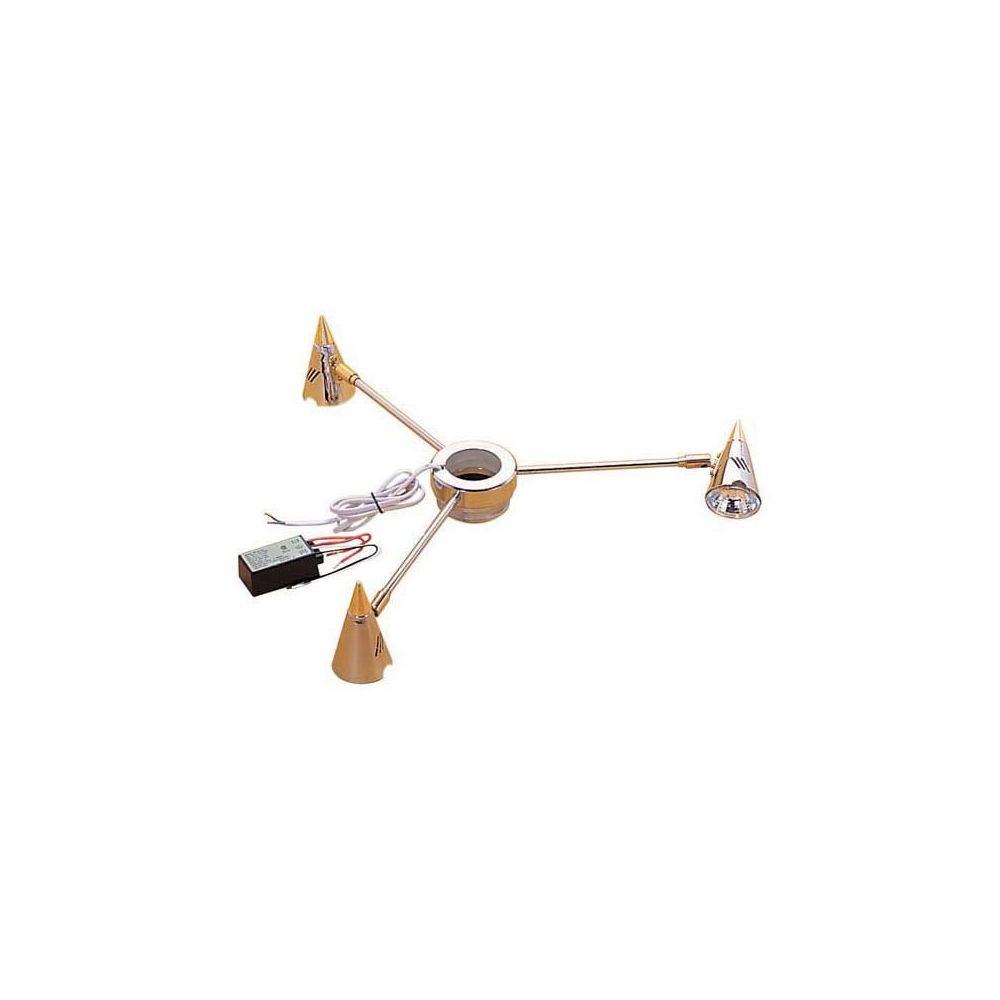 Tcasystem Plafonnier 3 spots - Diamètre : 460 mm - Hauteur : 70 mm - Matériau : Acier - Décor : Chromé / Doré - Alimentation : 12