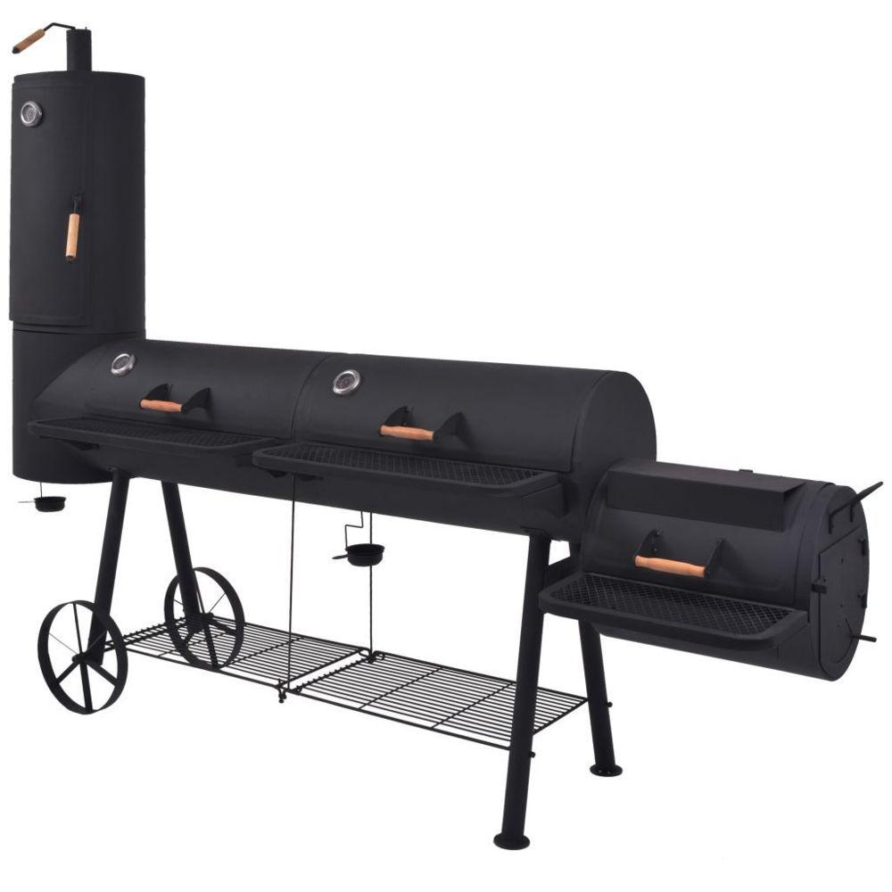 Vidaxl Barbecue au charbon de bois avec étagère inférieure Noir XXXL - Électroménager de cuisine - Grils d'extérieur | Noir | N