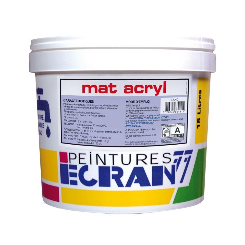Peintures Daniel Peinture professionnelle acrylique, mat, intérieur et extérieur, pour murs, plafonds, MAT ACRYL-15 litres-Blanc