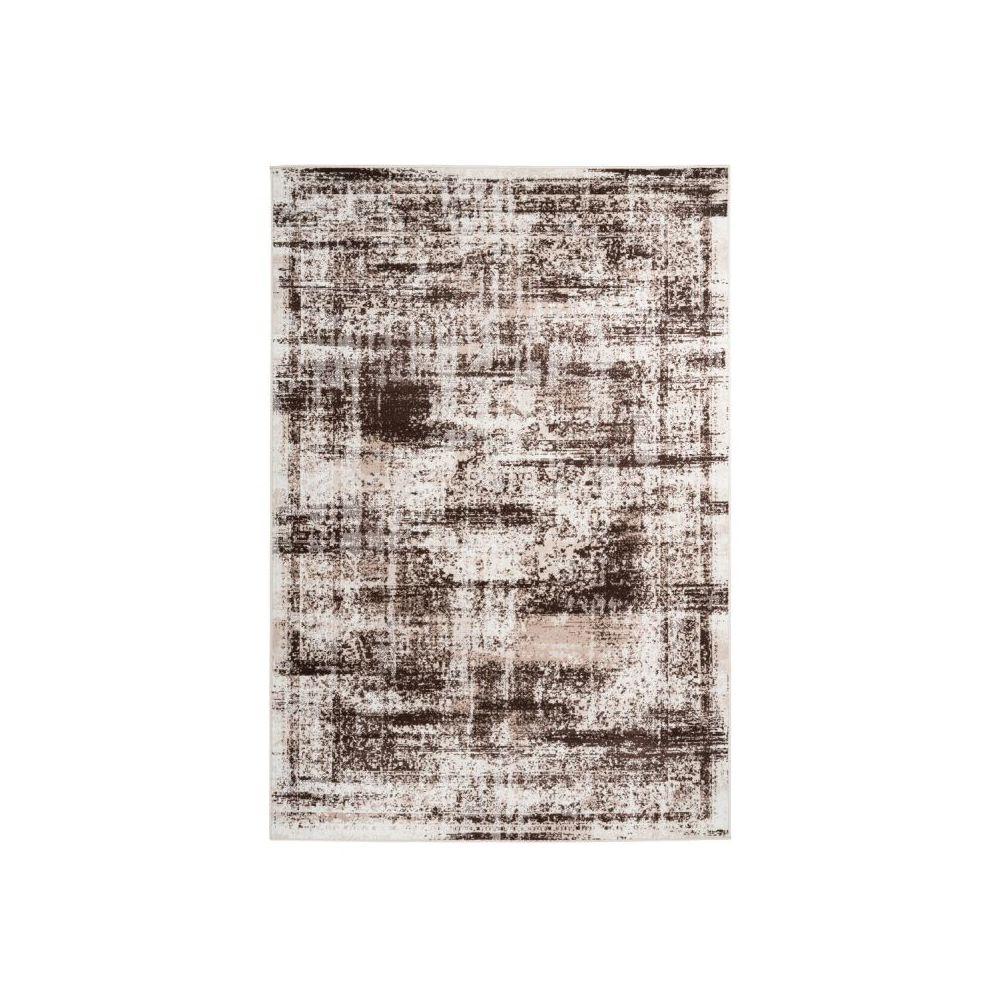 Paris Prix Tapis Vintage à Poils Courts Ariya Taupe & Marron - 80 x 150 cm