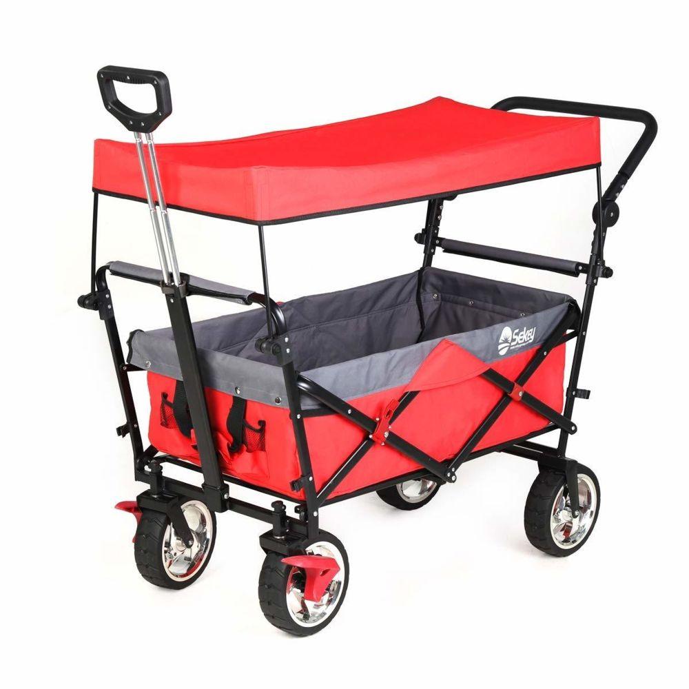 Sekey Chariot de transport avec toit Chariot Pliant Chariot de Plage Chariot de Jardin Pliable pour Tous Les terrains, Rouge