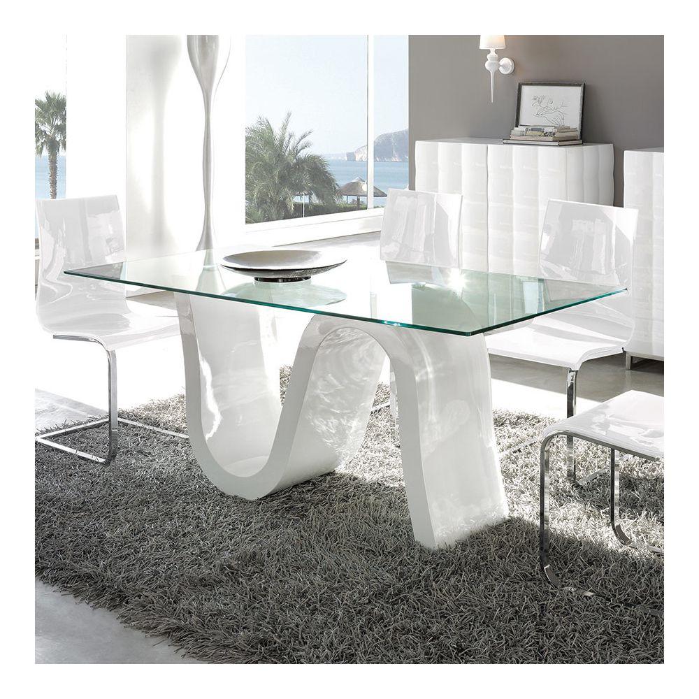 Nouvomeuble Table à manger en verre trempé ROMY