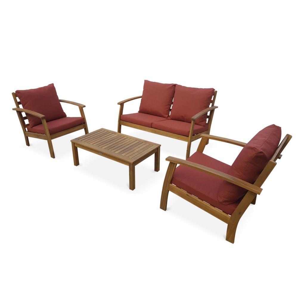 Alice'S Garden Salon de jardin en bois 4 places - Ushuaïa - Coussins terracotta, canapé, fauteuils et table basse en acacia, design