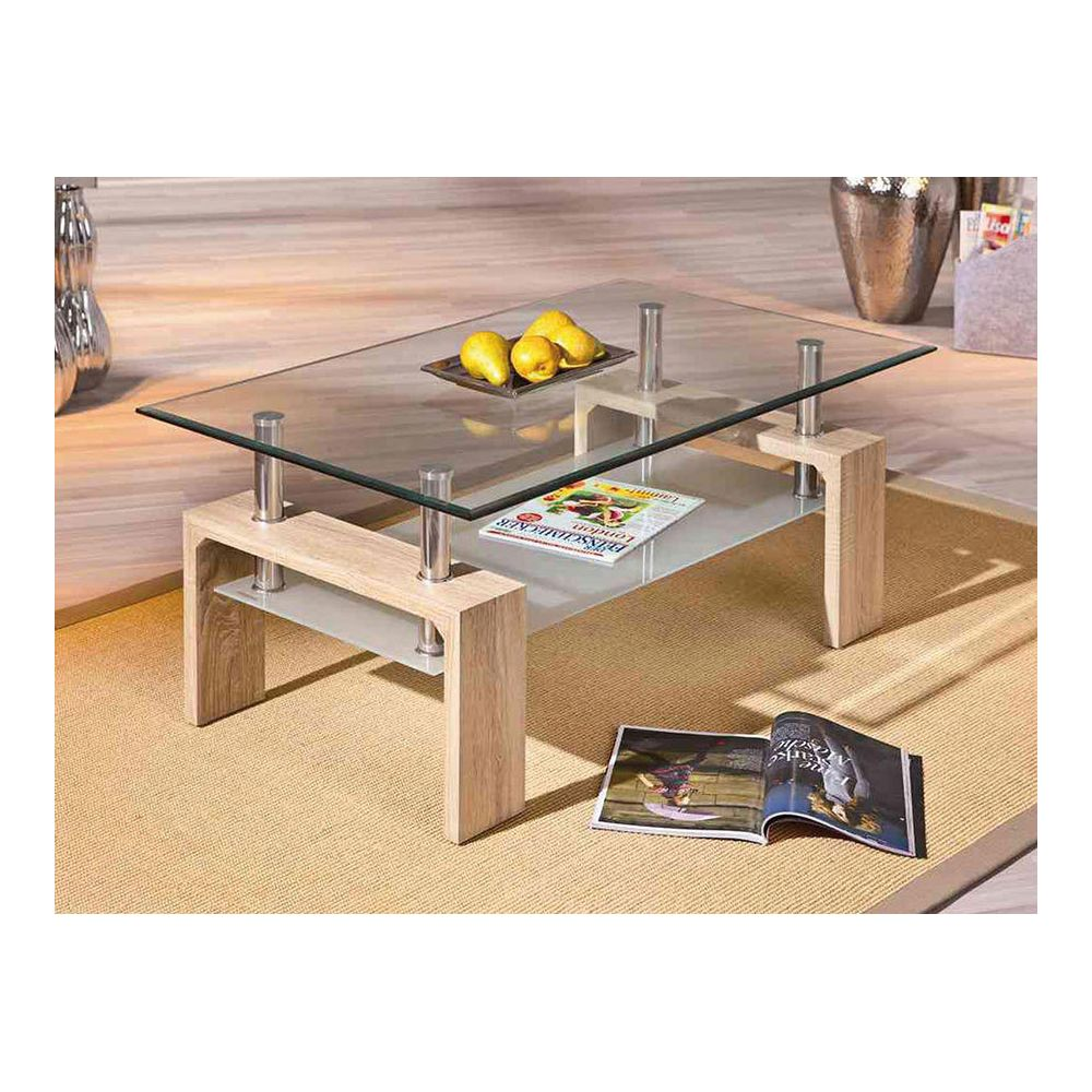 Sofamobili Table basse couleur chêne clair et verre contemporaine OTTAVIA 3