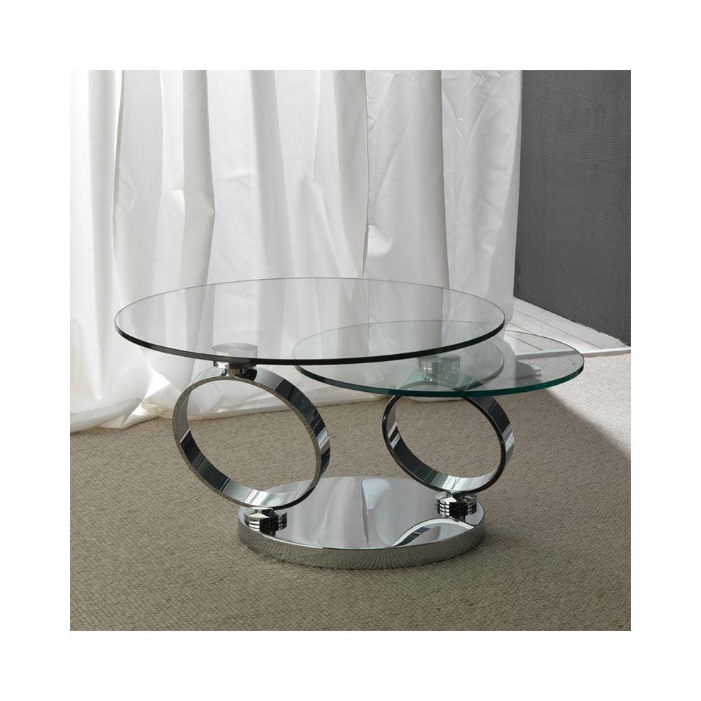 Nouvomeuble Table basse ronde en verre et acier ROSANA