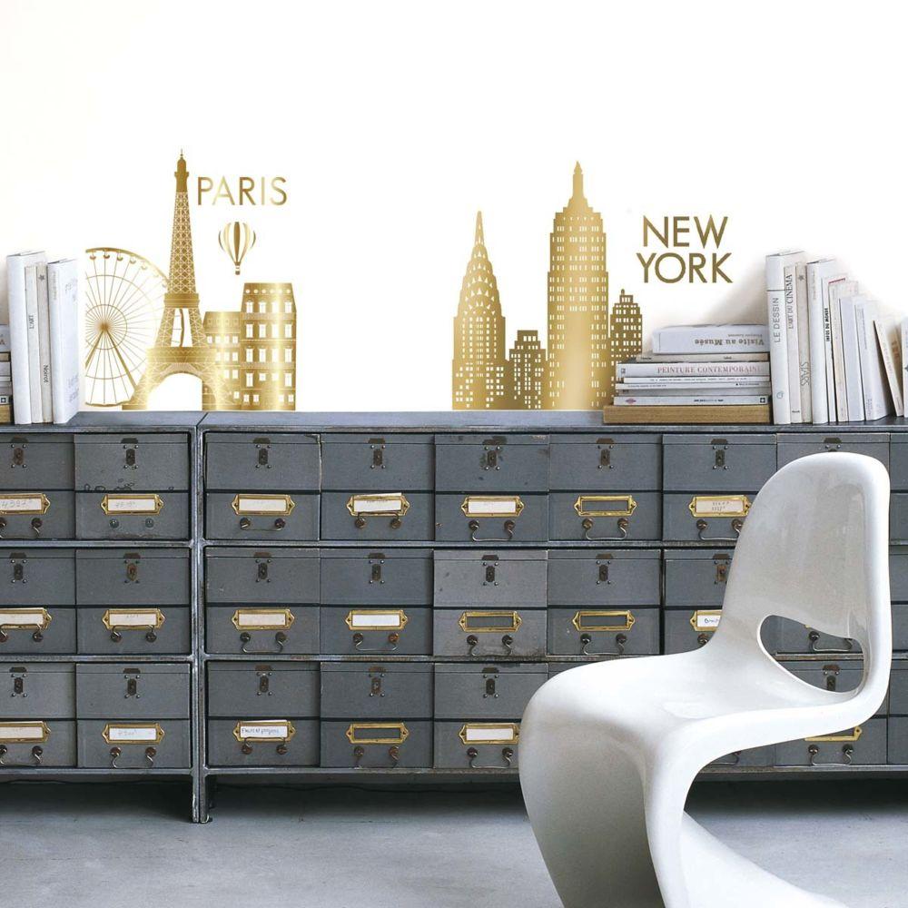Nouvelles Images Sticker mural NY & Paris gold