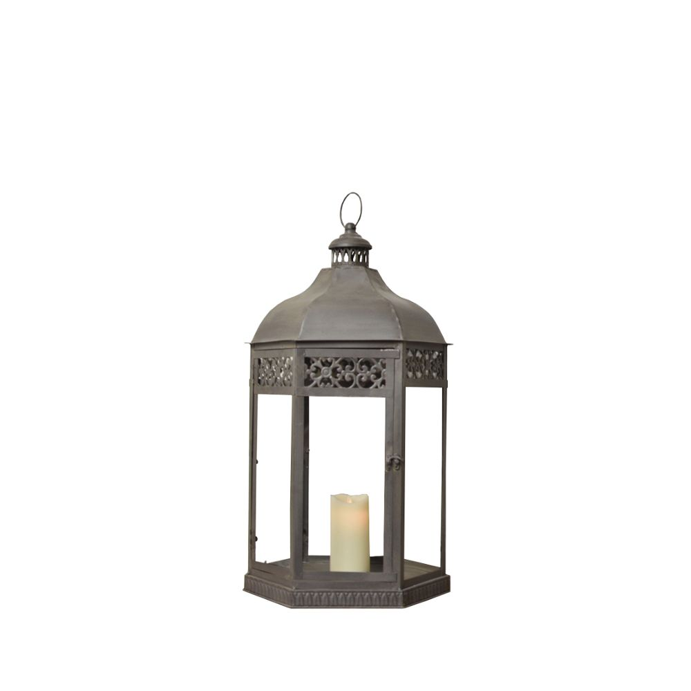 L'Originale Deco Lanterne Marron Fer Métal Style Tempête 46 cm
